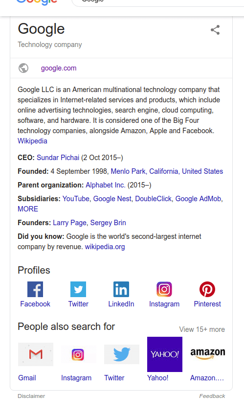 Google - knowledge panel